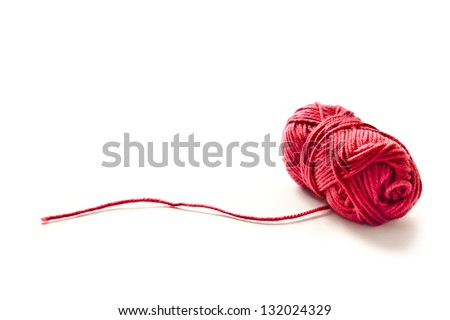 red yarn isolated on a white background