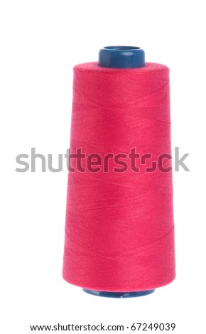 red yarn spool of thread isolated on white background - stock photo