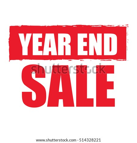 Red Year End Sale Infographics Sign or Icon Isolated on White Background