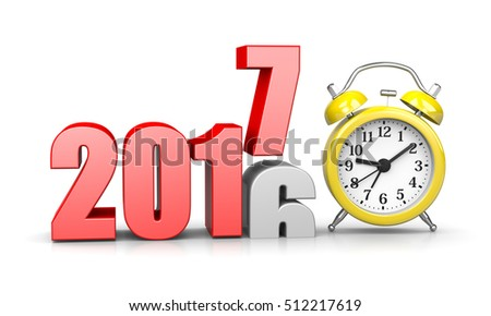 Red 2017 Year Number Text on Top of 2016 with Yellow Alarm Clock on White Background 3D Illustration. Time Passes Concept