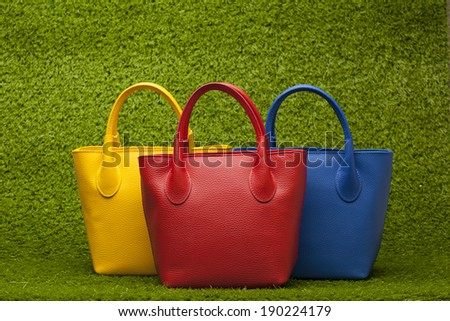 red, yellow and blue purses on green grass - stock photo