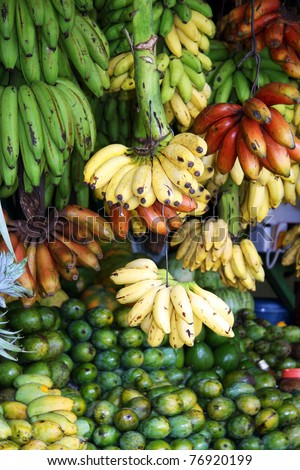 Red, yellow and green bananas hanging for sale at a market, Kandy, Sri Lanka - stock photo