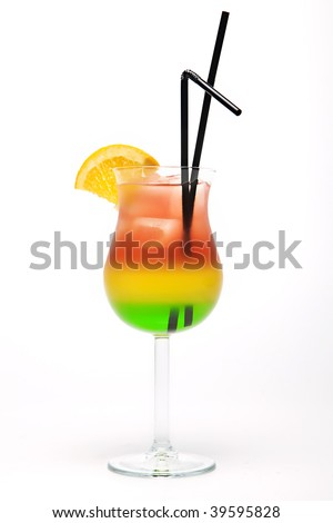 Red, Yellow and green cocktail with straws and a slice - stock photo