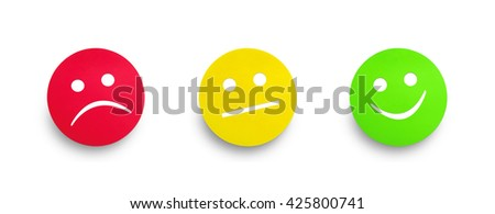 Red yellow and green color cardboard tags isolated on white background. Right and wrong concept. Clipping path - stock photo