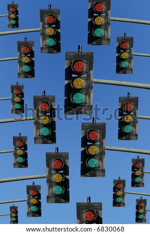 red, yellow and green lights on a sky blue background - stock photo