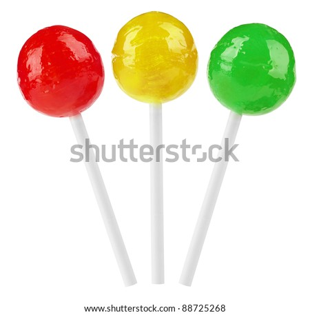 Red, yellow and green lollipop isolated on white background. With Clipping Path - stock photo