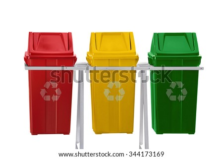 Red, yellow and green recycle bins isolated on white background - stock photo