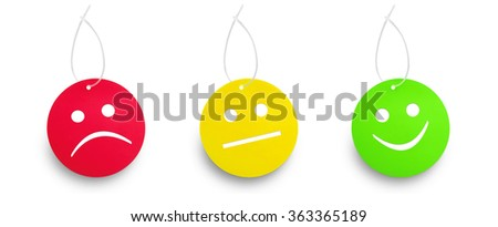 Red yellow and green tags isolated on white background. Semaphore concept - stock photo