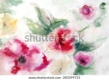 red, yellow and pink abstract flowers and leaves on a light background hand painted watercolor