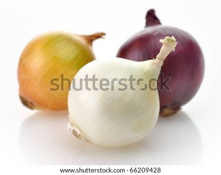 red, yellow and white onions