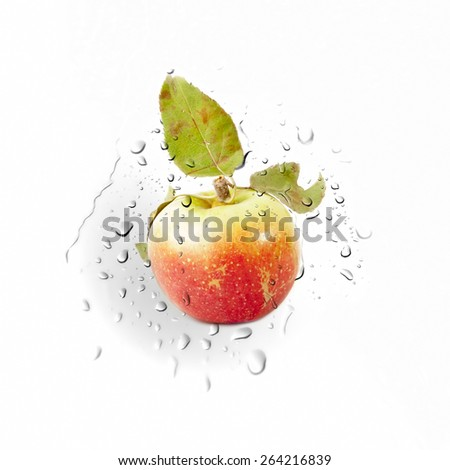Red Yellow Apple on water drops background isolated over white