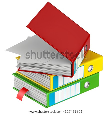 red, yellow, blue, green and black folders stores important documents on abstract background - stock photo