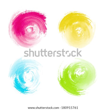Red Yellow Blue Green Paint Swirls on White Background
