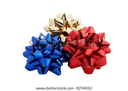 Red yellow blue paper bows - stock photo