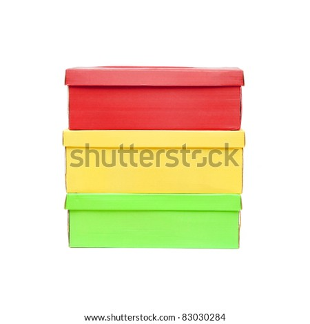 Red Yellow Green box isolated on white backgorund