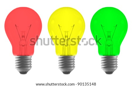 Red yellow green color light bulb as traffic light isolated on white background - stock photo