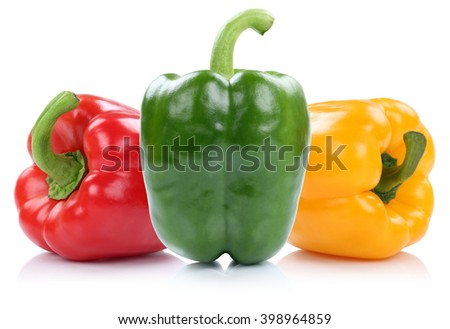 Red yellow green organic paprika paprikas vegetable isolated on a white background - stock photo