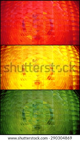 Red, yellow, green spotlight traffic light as background, collage - stock photo