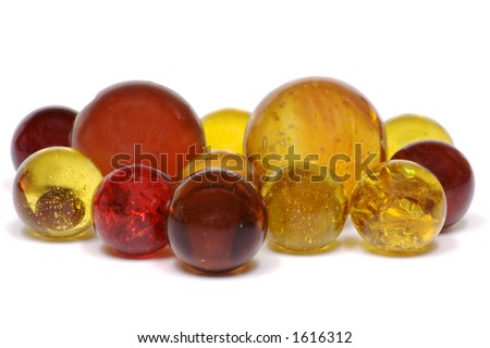 Red & Yellow Marbles - stock photo