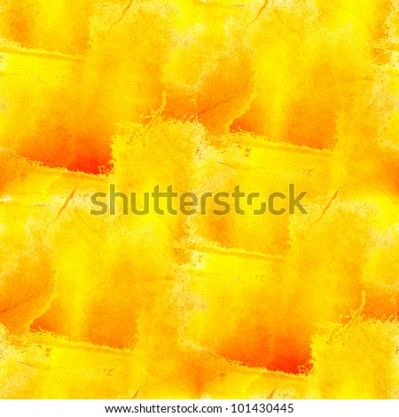 red yellow paint watercolor seamless texture with spots and streaks - stock photo