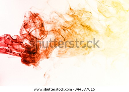 Red yellow smoke pattern on white background