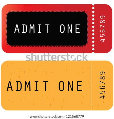 red - yellow ticket - admit one - stock photo