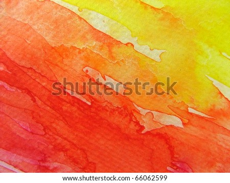 Red & Yellow Watercolor Background 2 - stock photo