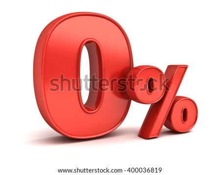Red zero percent or 0 % isolated over white background with reflection. 3D rendering. - stock photo