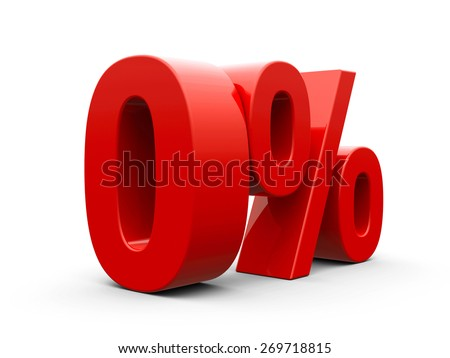 Red zero percent sign isolated on white background, three-dimensional rendering - stock photo