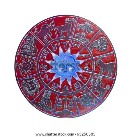 Red zodiac wheel with clipping path included - stock photo