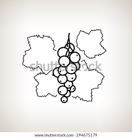 Redcurrant ,Image Red Currant in the Contours on a Light Background, Black and White  Illustration - stock photo
