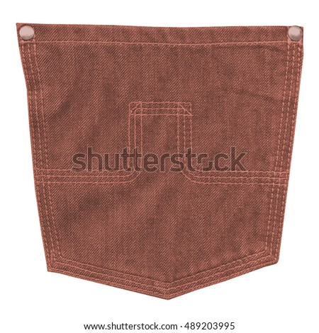 reddish-brown jeans back pocket isolated on white