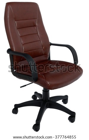 Reddish-brown leather office chair, isolated on white background, forty-five degree angle view