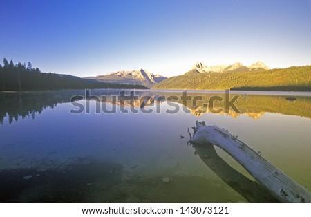 Redfish Lake and Sawtooth Mountains at Sunrise, Idaho - stock photo