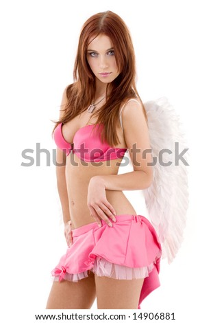 redhead angel girl in pink lingerie over white - stock photo