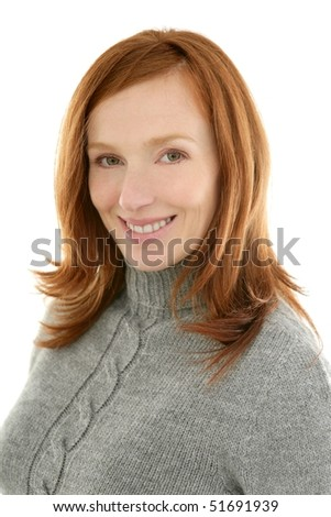 redhead beautiful woman portrait smiling on white background