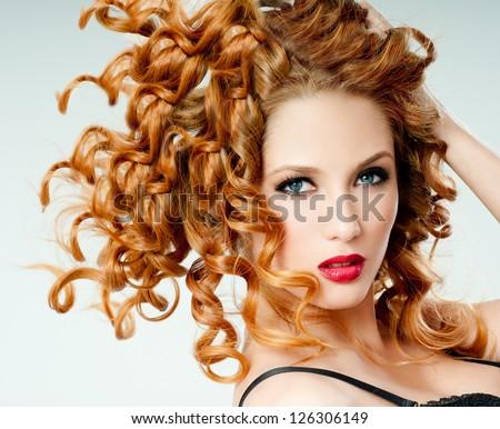 redhead beauty - stock photo