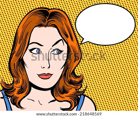 redhead beauty comic pop art looking sideways with speech bubble and orange background - stock photo