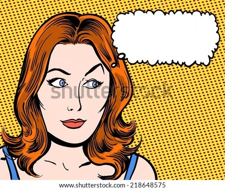 redhead beauty comic pop art looking sideways with thought bubble and orange background - stock photo
