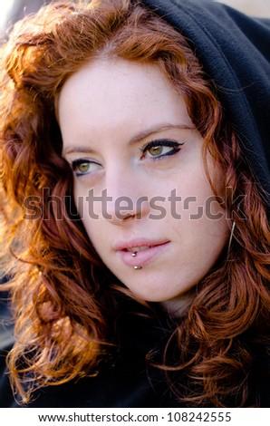 Redhead girl portrait - stock photo