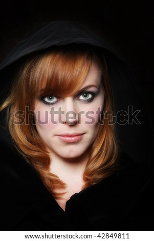 redhead in a hood - You think so? expression