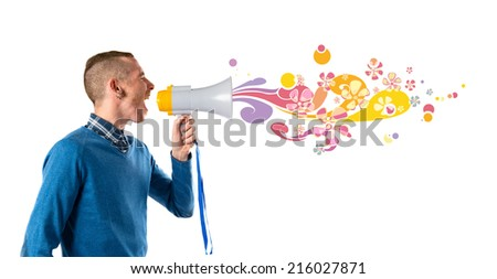 Redhead man shouting by megaphone over white background  - stock photo