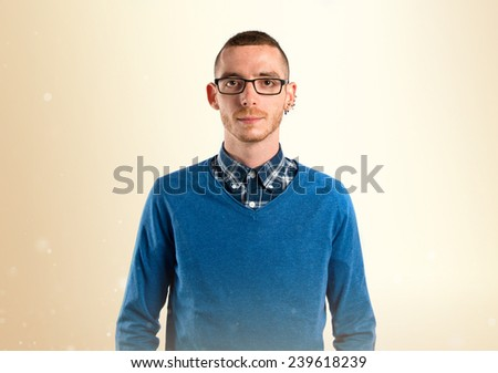 Redhead man with glasses over white background