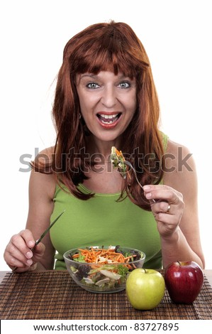 redhead woman eating, diet - stock photo