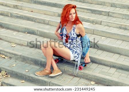 Redhead Teen Simply Sits 55