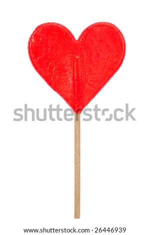 redl heart shaped lollipop isolated on a white background