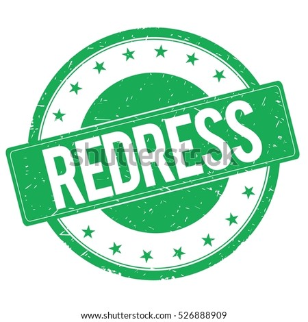 REDRESS stamp sign text word logo green.