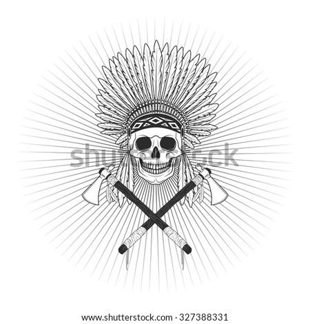 Redskin skull logo image - stock photo