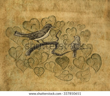 Redstart with nestling. Birds on a branch. Pencil sketch on the old paper. Vintage style. - stock photo