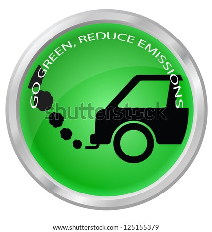 Reduce carbon emissions car button isolated on white background - stock photo